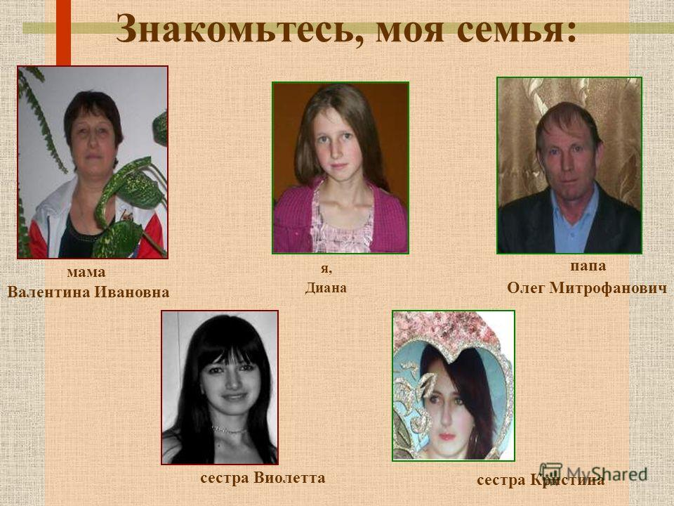 Знакомьтесь, моя семья: я, Диана мама Валентина Ивановна папа Олег Митрофанович сестра Виолетта сестра Кристина