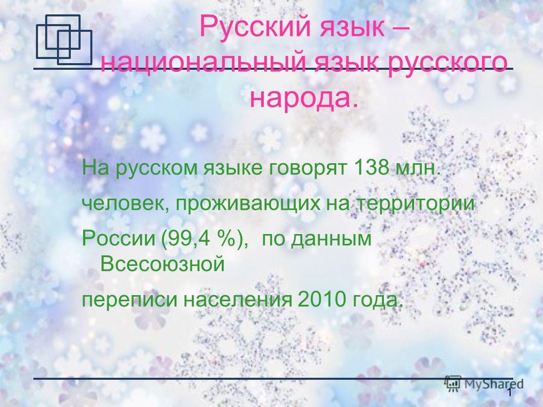 1 Русский язык – национальный язык русского народа. На русском языке говорят 138 млн. человек, проживающих на территории России (99,4 %), по данным Всесоюзной переписи населения 2010 года.