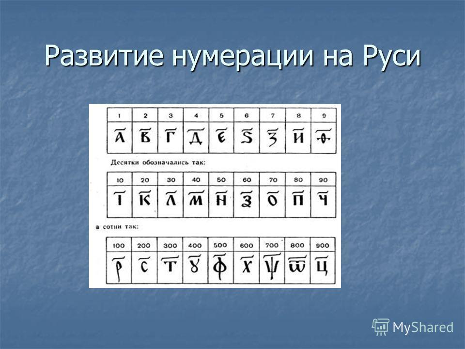 Развитие нумерации на Руси