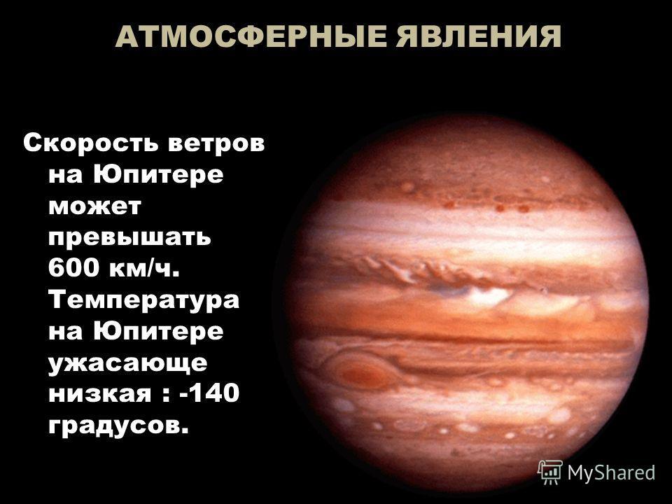 АТМОСФЕРНЫЕ ЯВЛЕНИЯ Скорость ветров на Юпитере может превышать 600 км/ч. Температура на Юпитере ужасающе низкая : -140 градусов.
