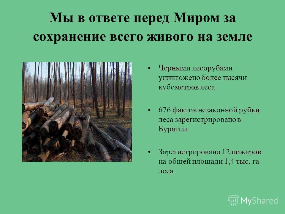 Мы в ответе перед Миром за сохранение всего живого на земле Чёрными лесорубами уничтожено более тысячи кубометров леса 676 фактов незаконной рубки леса зарегистрировано в Бурятии Зарегистрировано 12 пожаров на общей площади 1,4 тыс. га леса.