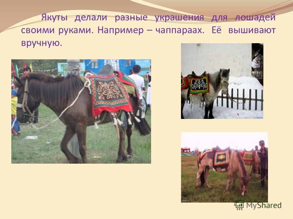 Якуты делали разные украшения для лошадей своими руками. Например – чаппараах. Её вышивают вручную.