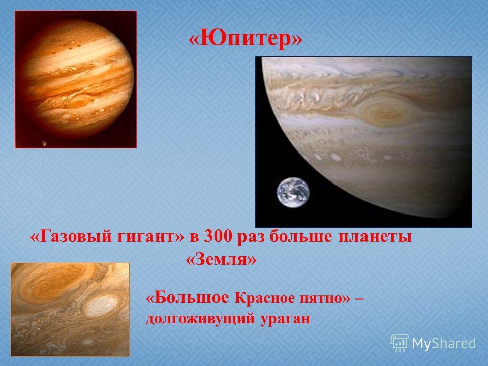 « Юпитер » «Газовый гигант» в 300 раз больше планеты «Земля» « Большое Красное пятно» – долгоживущий ураган