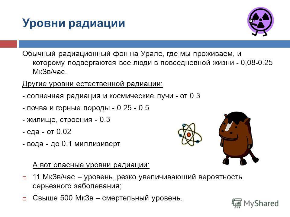 Уровни радиации Обычный радиационный фон на Урале, где мы проживаем, и которому подвергаются все люди в повседневной жизни - 0,08-0.25 МкЗв/час. Другие уровни естественной радиации: - солнечная радиация и космические лучи - от 0.3 - почва и горные по