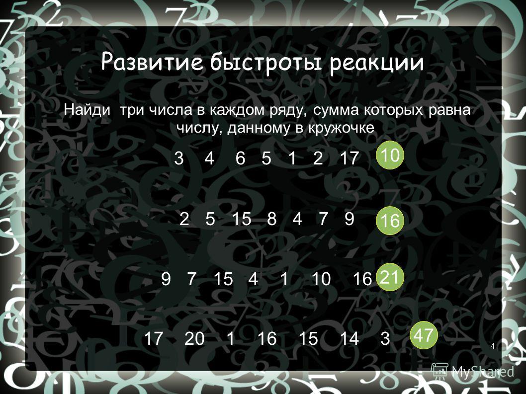 4 Развитие быстроты реакции Найди три числа в каждом ряду, сумма которых равна числу, данному в кружочке 3 4 6 5 1 2 17 2 5 15 8 4 7 9 9 7 15 4 1 10 16 17 20 1 16 15 14 3 10 16 21 47