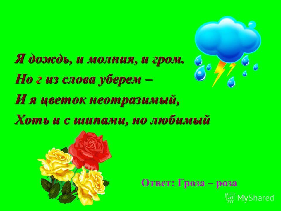 Я дождь, и молния, и гром. Но г из слова уберем – И я цветок неотразимый, Хоть и с шипами, но любимый Ответ: Гроза – роза