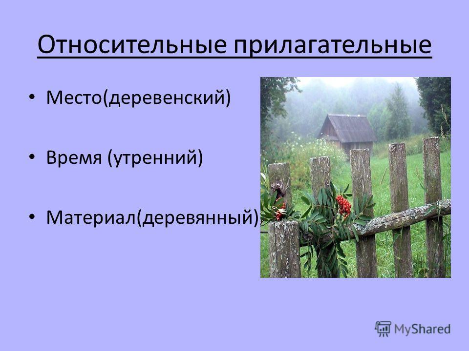 Относительные прилагательные Место(деревенский) Время (утренний) Материал(деревянный)