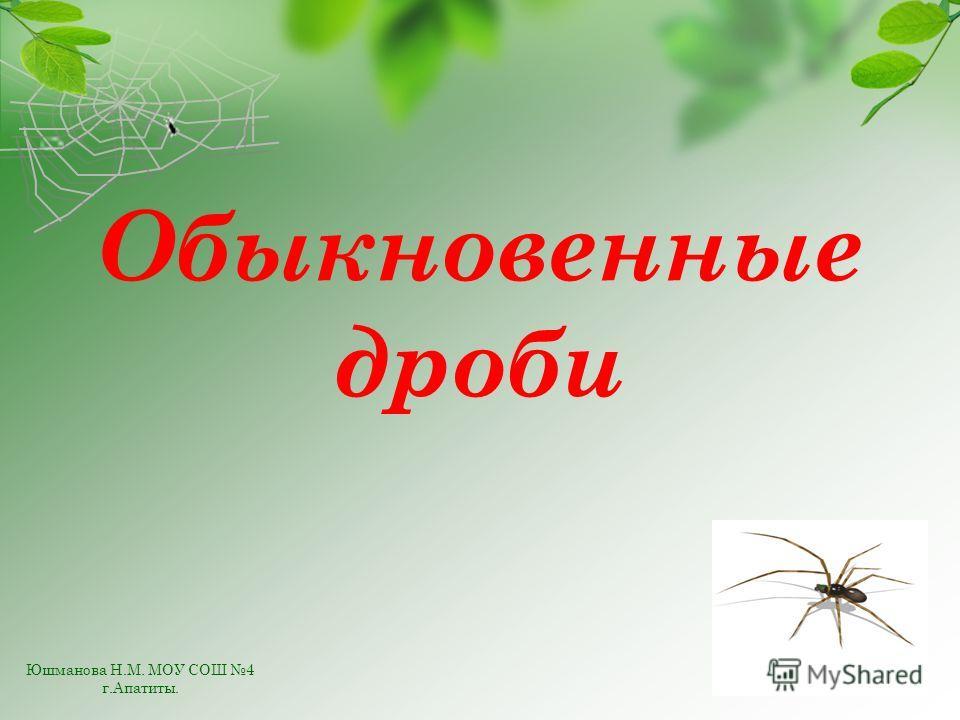 Обыкновенные дроби Юшманова Н.М. МОУ СОШ 4 г.Апатиты.