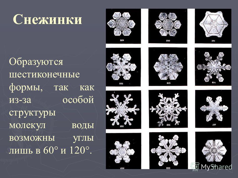 Снежинки Образуются шестиконечные формы, так как из-за особой структуры молекул воды возможны углы лишь в 60° и 120°.