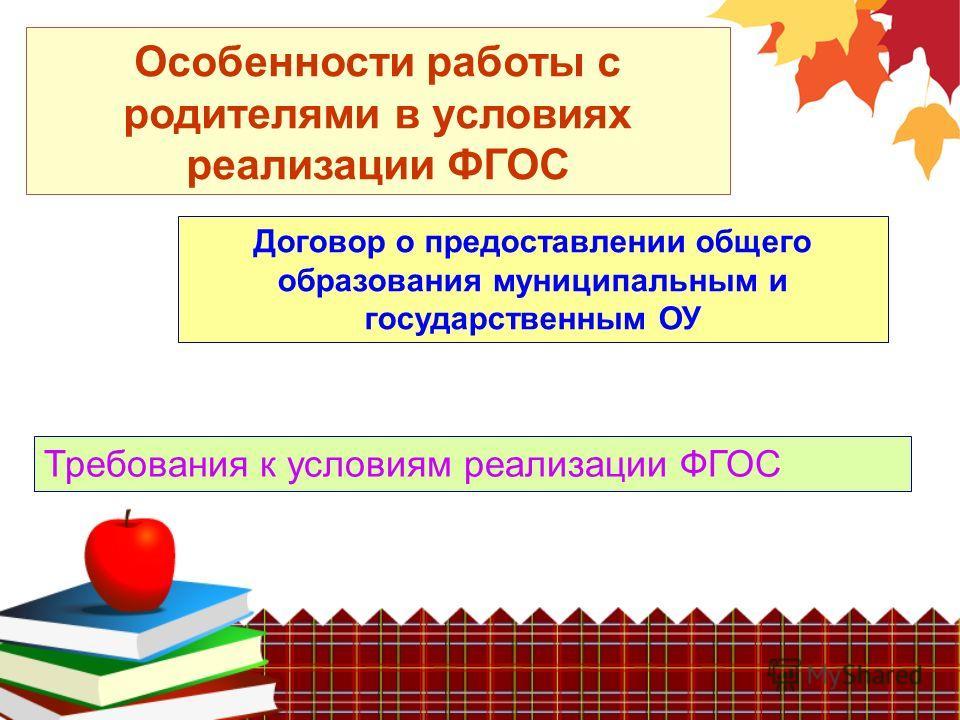 Особенности работы с родителями в условиях реализации ФГОС Договор о предоставлении общего образования муниципальным и государственным ОУ Требования к условиям реализации ФГОС