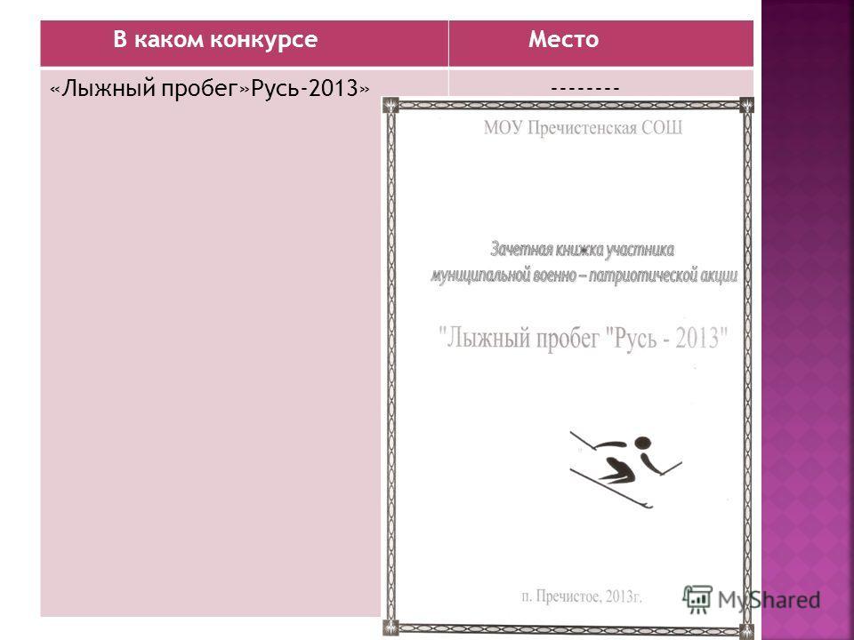 В каком конкурсе Место «Лыжный пробег»Русь-2013» --------