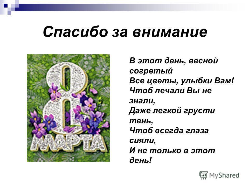 Спасибо за внимание В этот день, весной согретый Все цветы, улыбки Вам! Чтоб печали Вы не знали, Даже легкой грусти тень, Чтоб всегда глаза сияли, И не только в этот день!