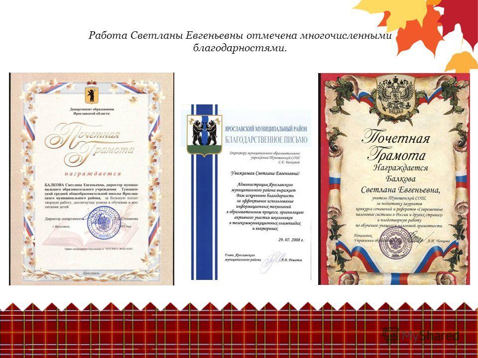 Работа Светланы Евгеньевны отмечена многочисленными благодарностями.
