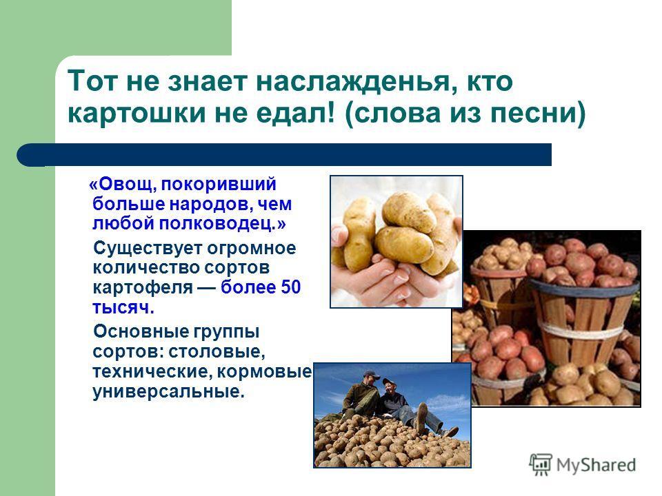 Тот не знает наслажденья, кто картошки не едал! (слова из песни) «Овощ, покоривший больше народов, чем любой полководец.» Существует огромное количество сортов картофеля более 50 тысяч. Основные группы сортов: столовые, технические, кормовые и универ