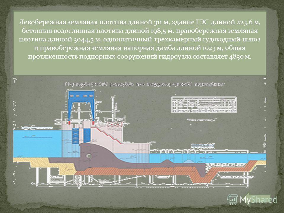 Левобережная земляная плотина длиной 311 м, здание ГЭС длиной 223,6 м, бетонная водосливная плотина длиной 198,5 м, правобережная земляная плотина длиной 3044,5 м, однониточный трехкамерный судоходный шлюз и правобережная земляная напорная дамба длин