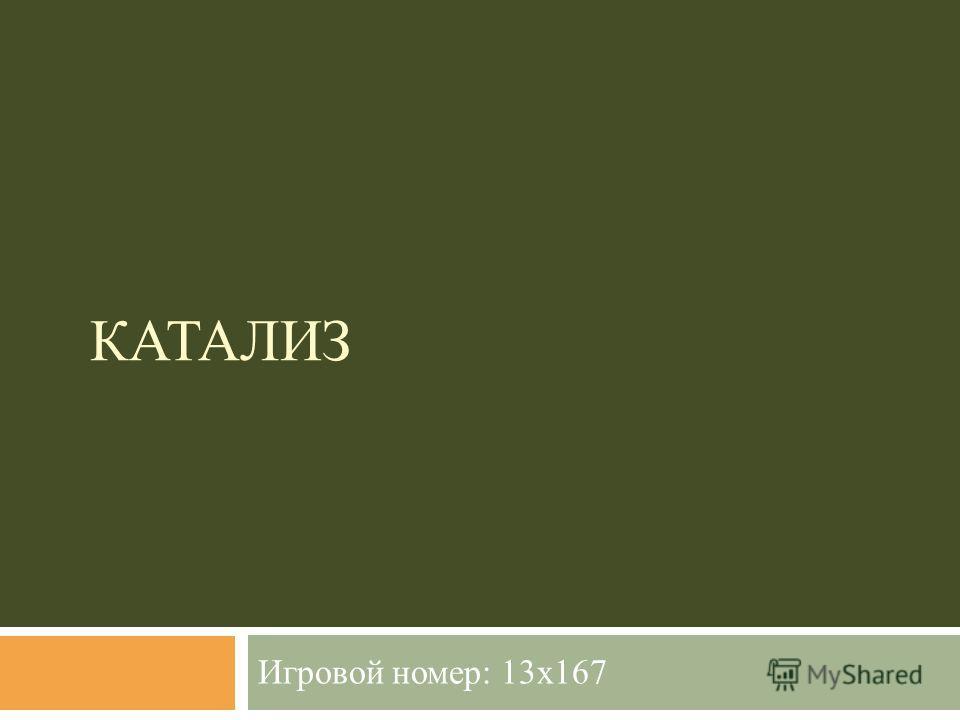 КАТАЛИЗ Игровой номер: 13x167