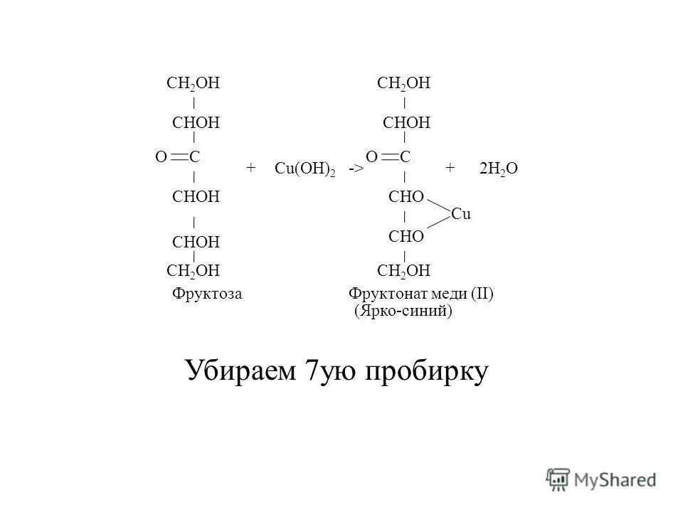Убираем 7ую пробирку CH 2 OH CHOH C Cu(OH) 2 +-> CH 2 OH CHOH C CHO Cu +2H 2 O ФруктозаФруктонат меди (II) O CH 2 OH O (Ярко-синий)