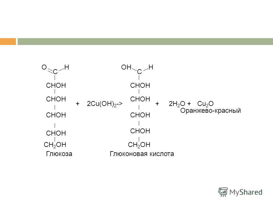 С OH CH 2 OH CHOH 2Cu(OH) 2 +-> С OHH CH 2 OH CHOH +2H 2 O ГлюкозаГлюконовая кислота Cu 2 O+ Оранжево-красный