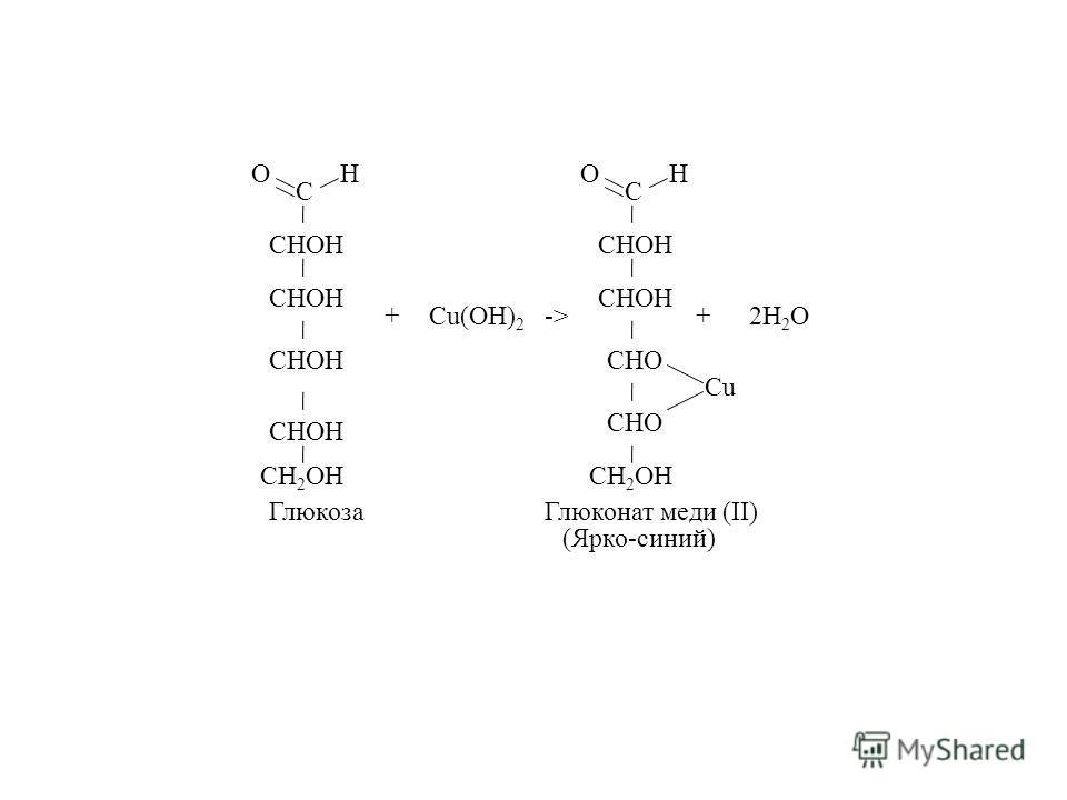 С OH CH 2 OH CHOH Cu(OH) 2 +-> С OH CH 2 OH CHOH CHO Cu +2H 2 O ГлюкозаГлюконат меди (II) (Ярко-синий)