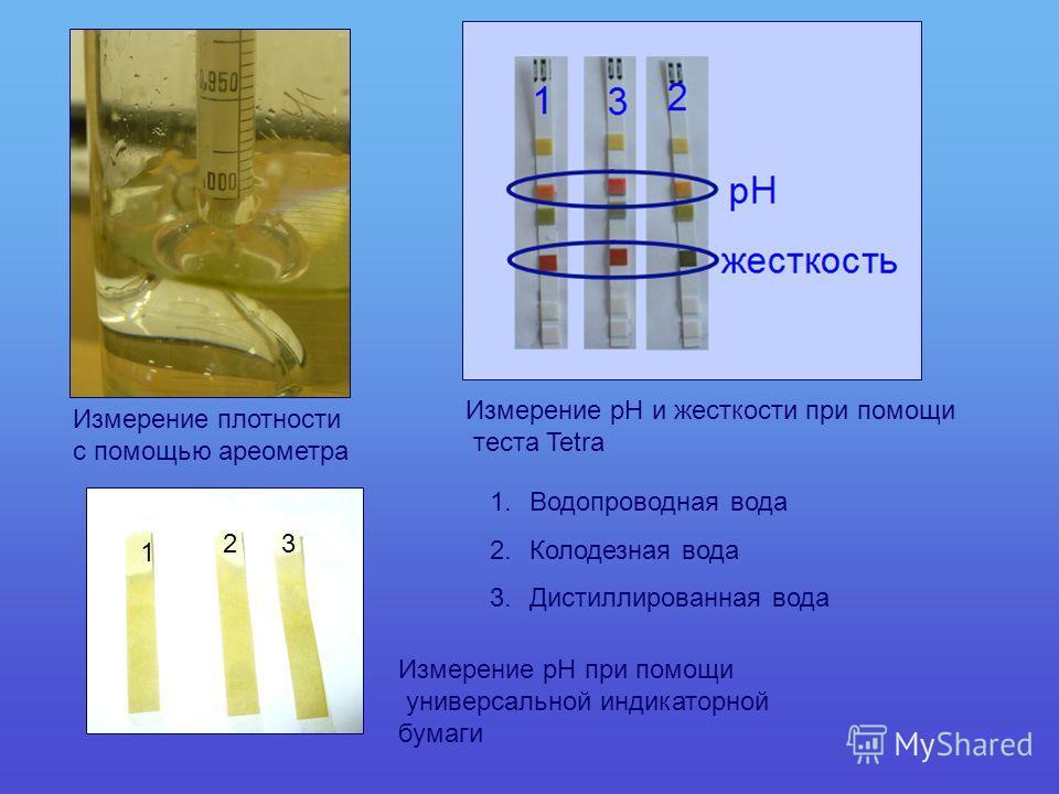 Измерение плотности с помощью ареометра Измерение рН при помощи универсальной индикаторной бумаги 1 23 Измерение рН и жесткости при помощи теста Tetra 1.Водопроводная вода 2.Колодезная вода 3.Дистиллированная вода