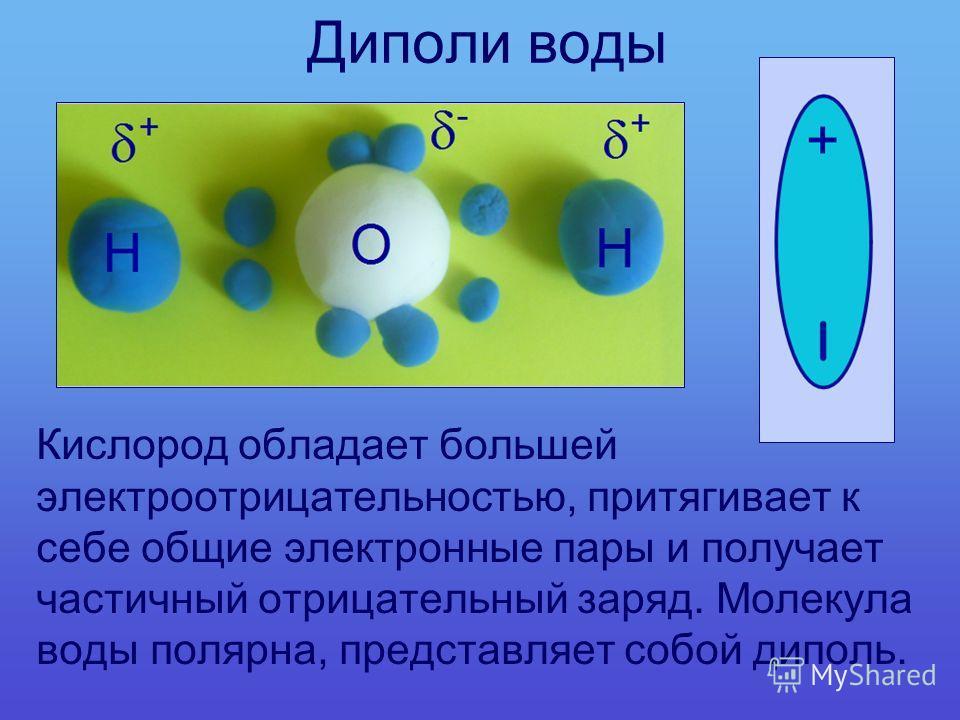Диполи воды Кислород обладает большей электроотрицательностью, притягивает к себе общие электронные пары и получает частичный отрицательный заряд. Молекула воды полярна, представляет собой диполь.