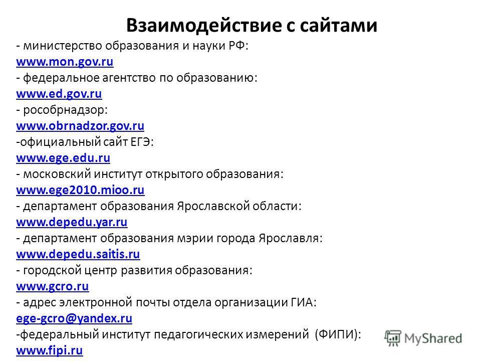 Взаимодействие с сайтами - министерство образования и науки РФ: www.mon.gov.ru - федеральное агентство по образованию: www.ed.gov.ru - рособрнадзор: www.obrnadzor.gov.ru -официальный сайт ЕГЭ: www.ege.edu.ru - московский институт открытого образовани