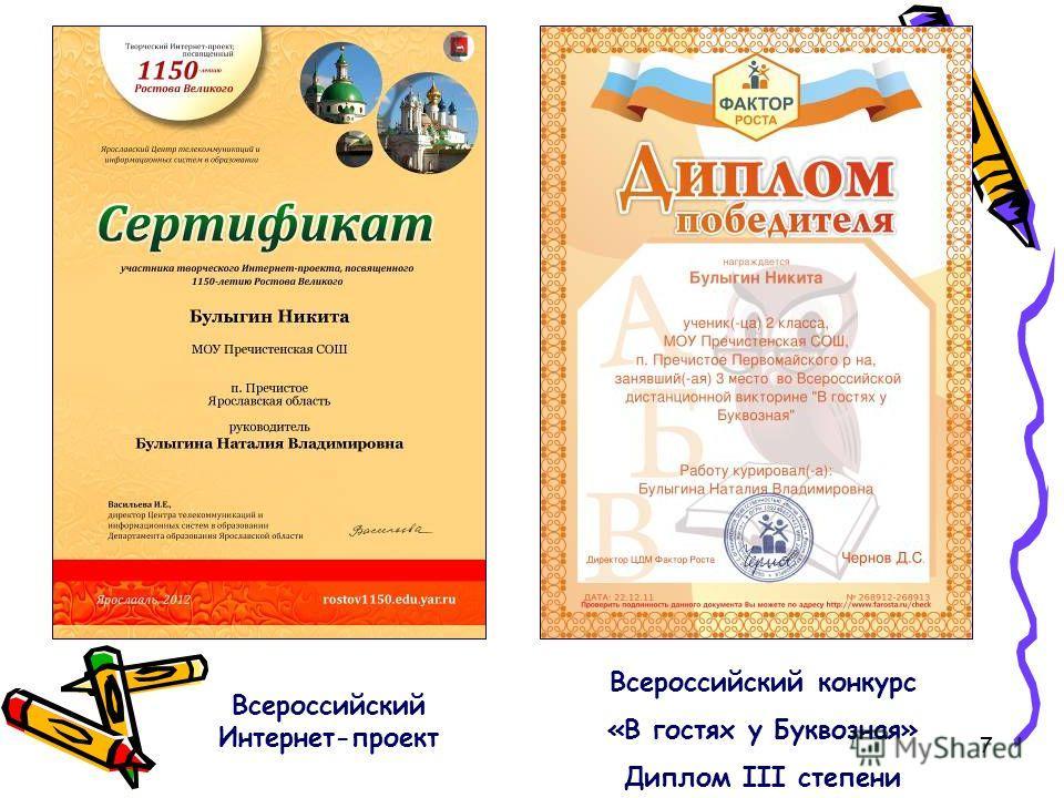 7 Всероссийский конкурс «В гостях у Буквозная» Диплом III степени Всероссийский Интернет-проект