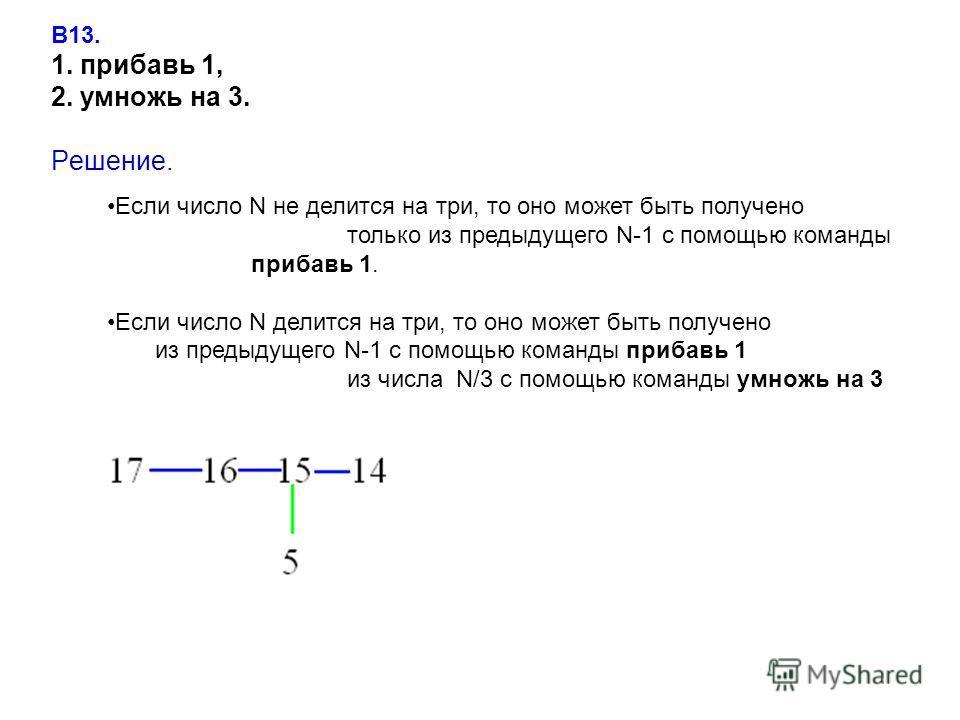 В13. 1. прибавь 1, 2. умножь на 3. Решение. Если число N не делится на три, то оно может быть получено только из предыдущего N-1 с помощью команды прибавь 1. Если число N делится на три, то оно может быть получено из предыдущего N-1 с помощью команды