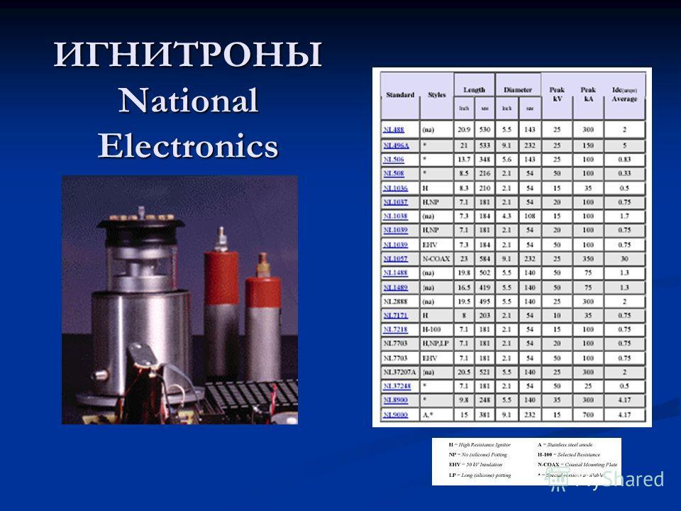 ИГНИТРОНЫ National Electronics