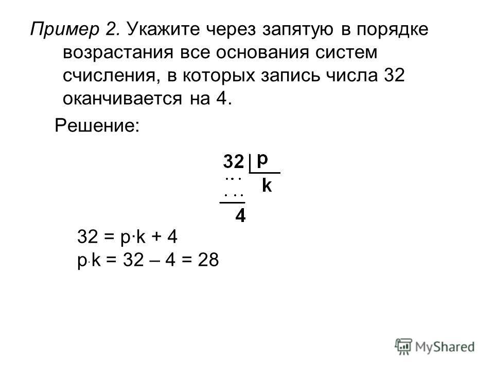 Пример 2. Укажите через запятую в порядке возрастания все основания систем счисления, в которых запись числа 32 оканчивается на 4. Решение: 32 = p·k + 4 p · k = 32 – 4 = 28