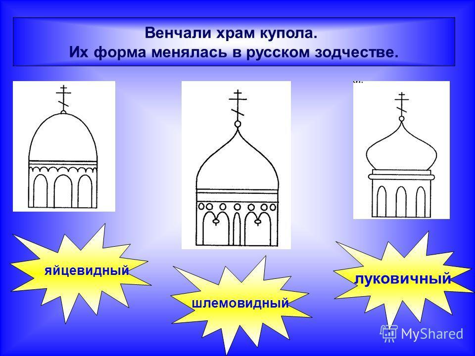 Венчали храм купола. Их форма менялась в русском зодчестве. яйцевидный шлемовидный луковичный