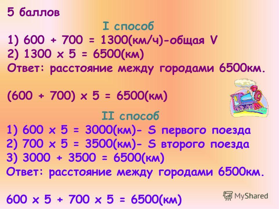 5 баллов I способ 1) 600 + 700 = 1300(км/ч)-общая V 2) 1300 х 5 = 6500(км) Ответ: расстояние между городами 6500км. (600 + 700) х 5 = 6500(км) II способ 1) 600 х 5 = 3000(км)- S первого поезда 2) 700 х 5 = 3500(км)- S второго поезда 3) 3000 + 3500 =