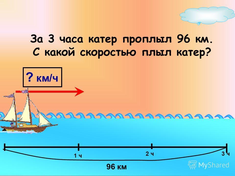 ? км/ч 96 км За 3 часа катер проплыл 96 км. С какой скоростью плыл катер? 1 ч 3 ч2 ч