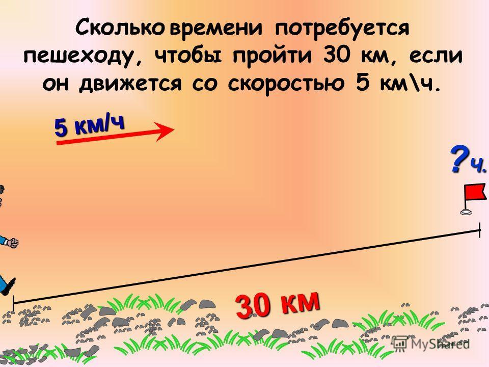 30 км 5 км/ч 5 км/ч Сколько времени потребуется пешеходу, чтобы пройти 30 км, если он движется со скоростью 5 км\ч. ? Ч.