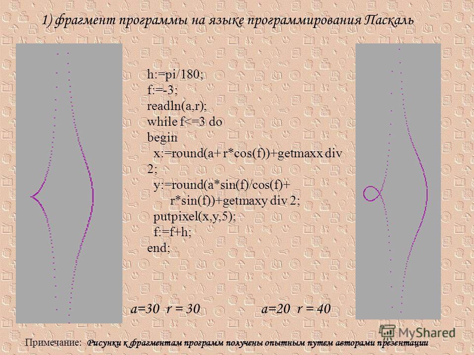 1) фрагмент программы на языке программирования Паскаль h:=pi/180; f:=-3; readln(a,r); while f
