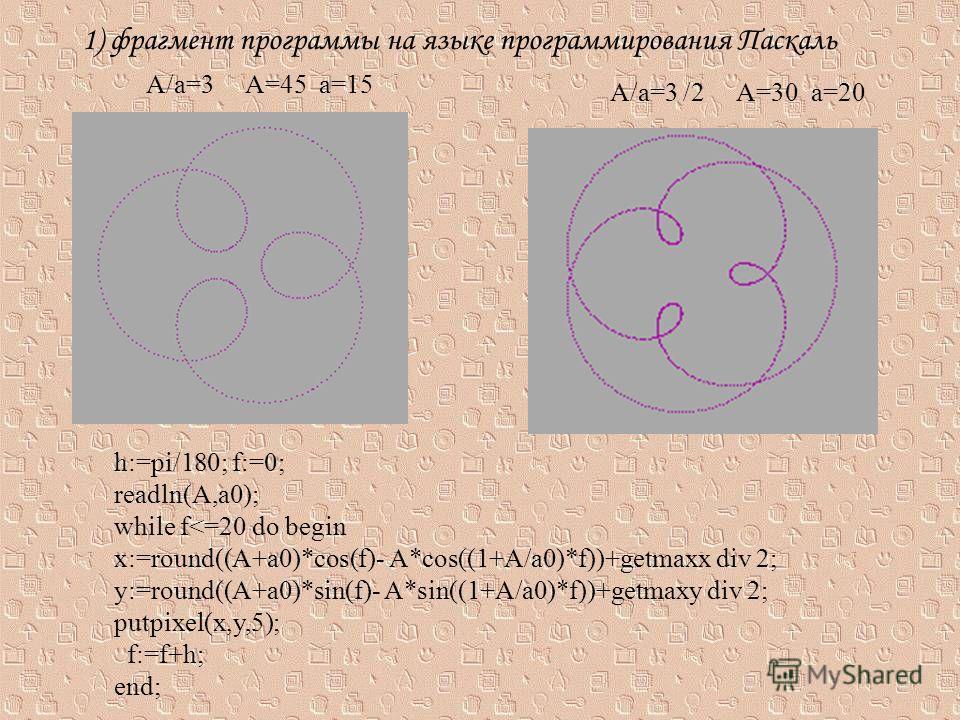 1) фрагмент программы на языке программирования Паскаль h:=pi/180; f:=0; readln(A,a0); while f