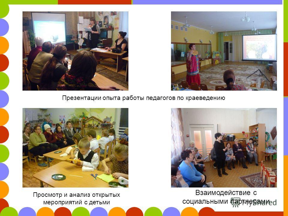 Презентации опыта работы педагогов по краеведению Просмотр и анализ открытых мероприятий с детьми Взаимодействие с социальными партнерами
