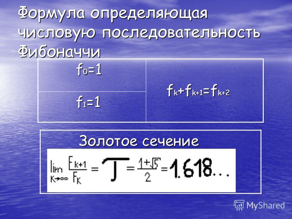 Формула определяющая числовую последовательность Фибоначчи f 0 =1 f 0 =1 f k +f k+1 =f k+2 f k +f k+1 =f k+2 f 1 =1 f 1 =1 Золотое сечение Золотое сечение