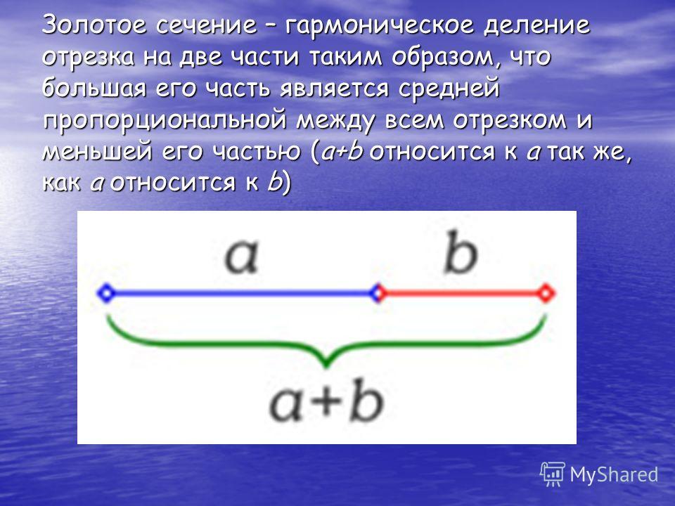 Золотое сечение – гармоническое деление отрезка на две части таким образом, что большая его часть является средней пропорциональной между всем отрезком и меньшей его частью (a+b относится к a так же, как a относится к b)
