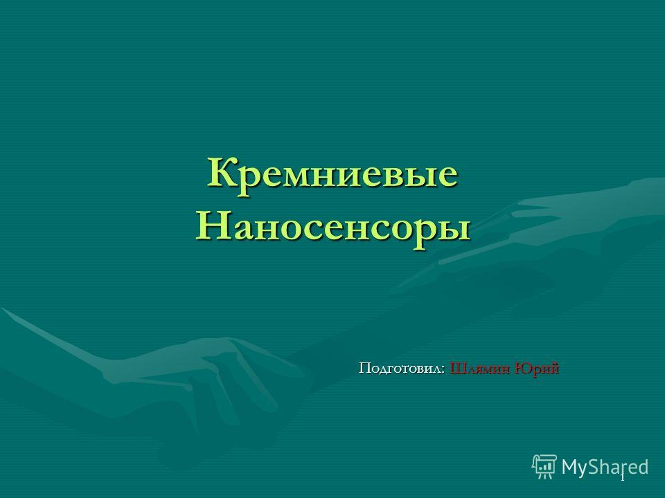 1 Кремниевые Наносенсоры Подготовил: Шлямин Юрий