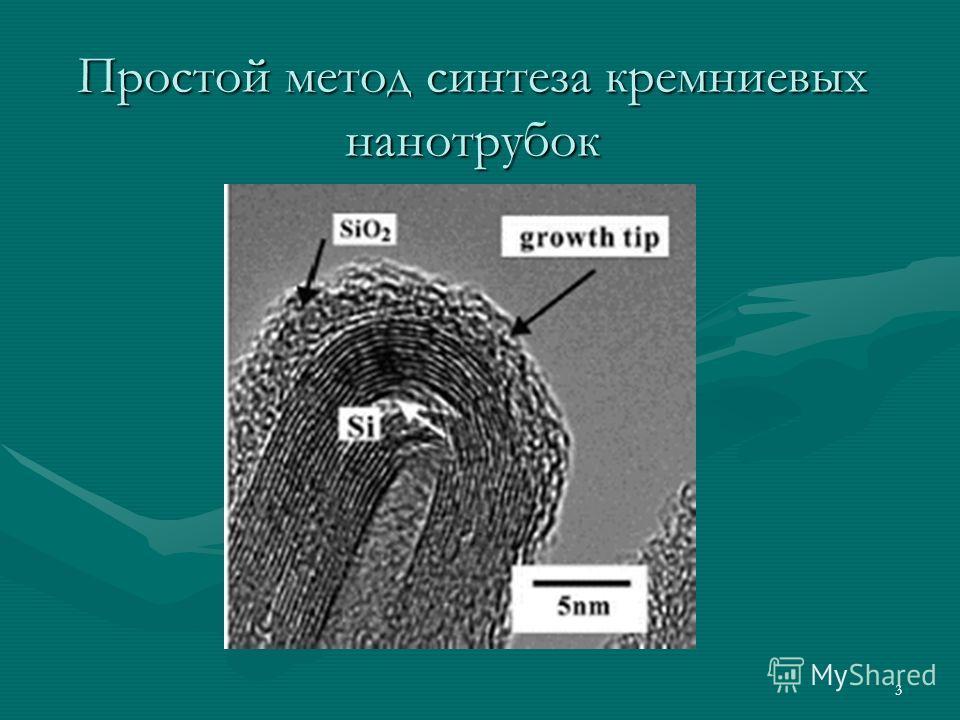 3 Простой метод синтеза кремниевых нанотрубок