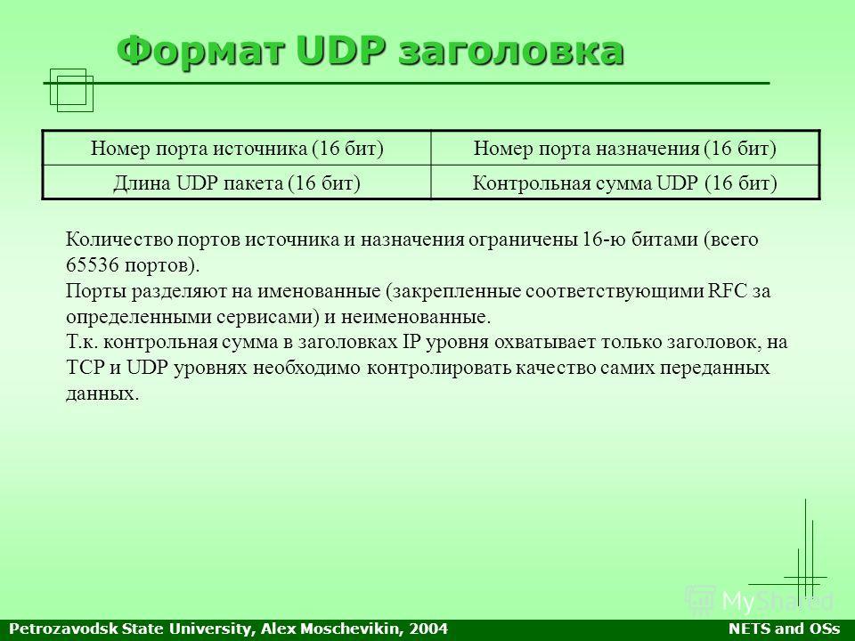 Petrozavodsk State University, Alex Moschevikin, 2004NETS and OSs Формат UDP заголовка Количество портов источника и назначения ограничены 16-ю битами (всего 65536 портов). Порты разделяют на именованные (закрепленные соответствующими RFC за определе