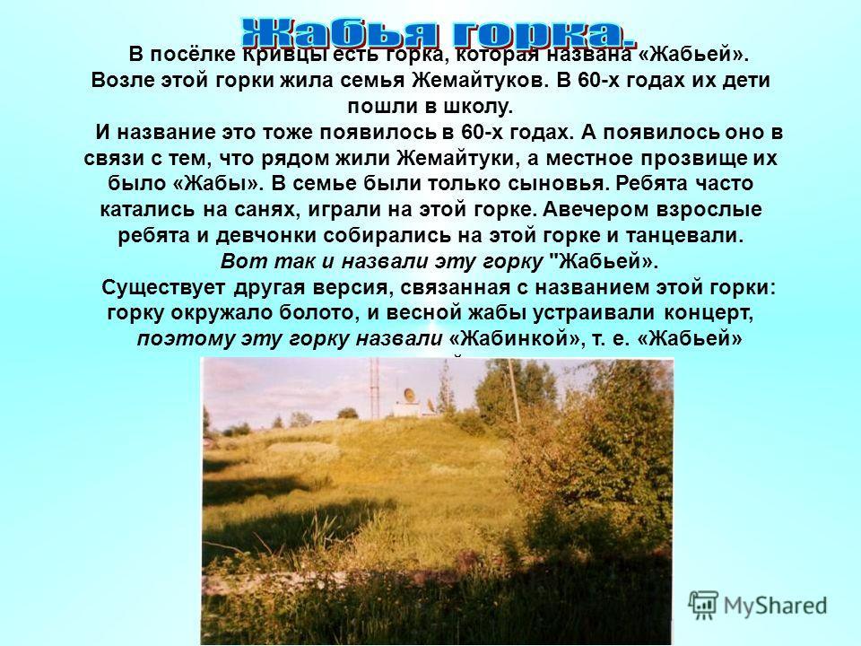 В посёлке Кривцы есть горка, которая названа «Жабьей». Возле этой горки жила семья Жемайтуков. В 60-х годах их дети пошли в школу. И название это тоже появилось в 60-х годах. А появилось оно в связи с тем, что рядом жили Жемайтуки, а местное прозвище