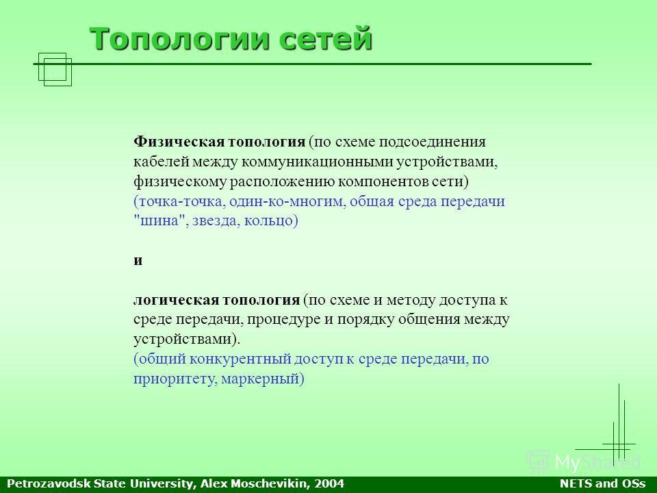 Petrozavodsk State University, Alex Moschevikin, 2004NETS and OSs Топологии сетей Физическая топология (по схеме подсоединения кабелей между коммуникационными устройствами, физическому расположению компонентов сети) (точка-точка, один-ко-многим, обща