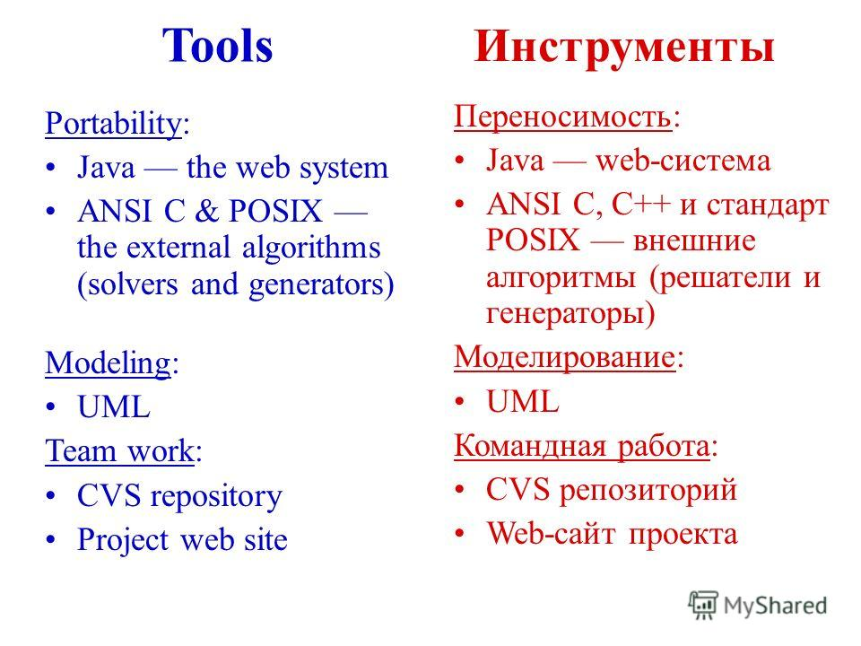 Tools Инструменты Portability: Java the web system ANSI C & POSIX the external algorithms (solvers and generators) Modeling: UML Team work: CVS repository Project web site Переносимость: Java web-система ANSI C, C++ и стандарт POSIX внешние алгоритмы