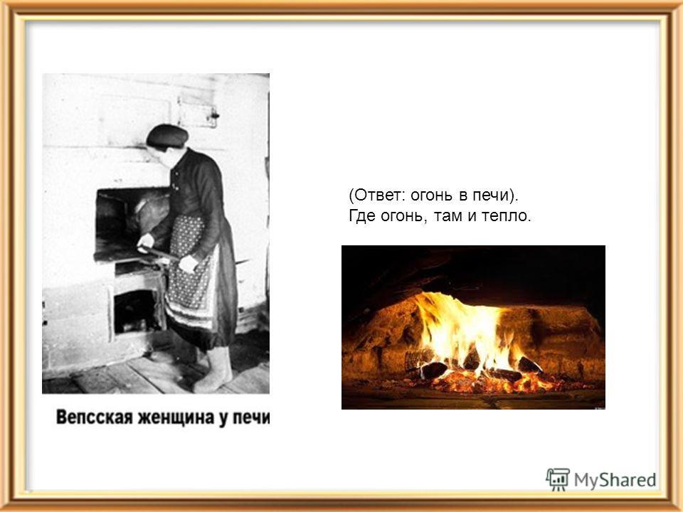 (Ответ: огонь в печи). Где огонь, там и тепло.