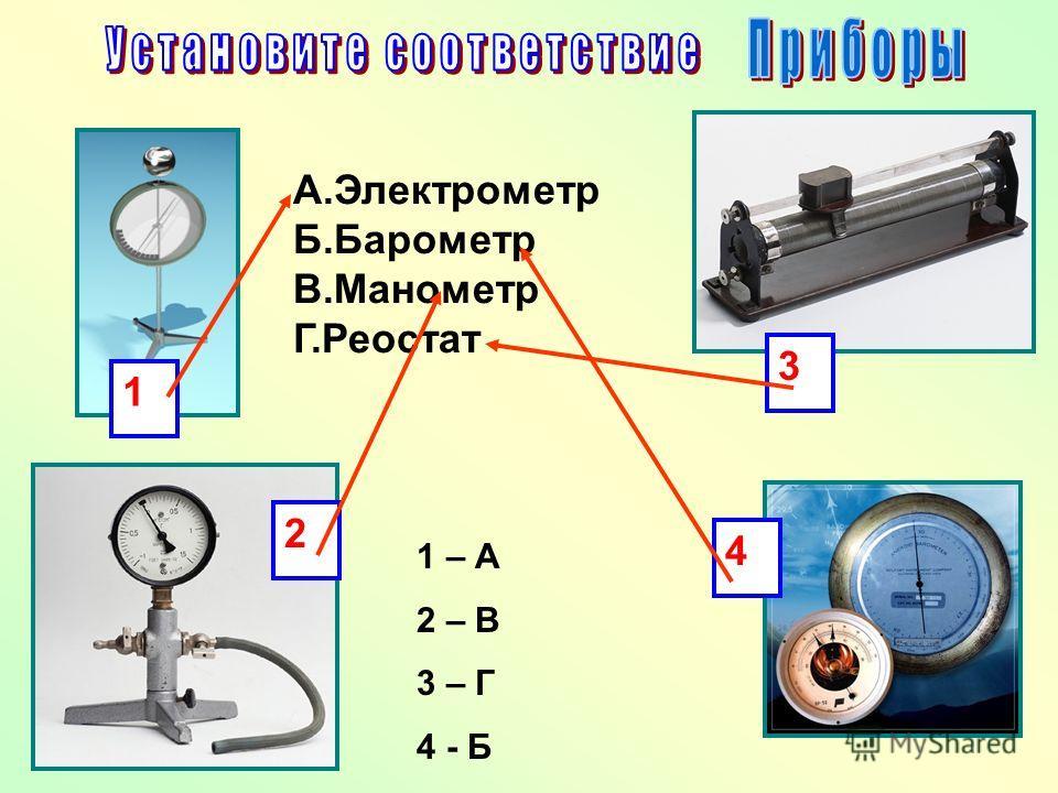 А.Электрометр Б.Барометр В.Манометр Г.Реостат 1 3 2 4 1 – А 2 – В 3 – Г 4 - Б