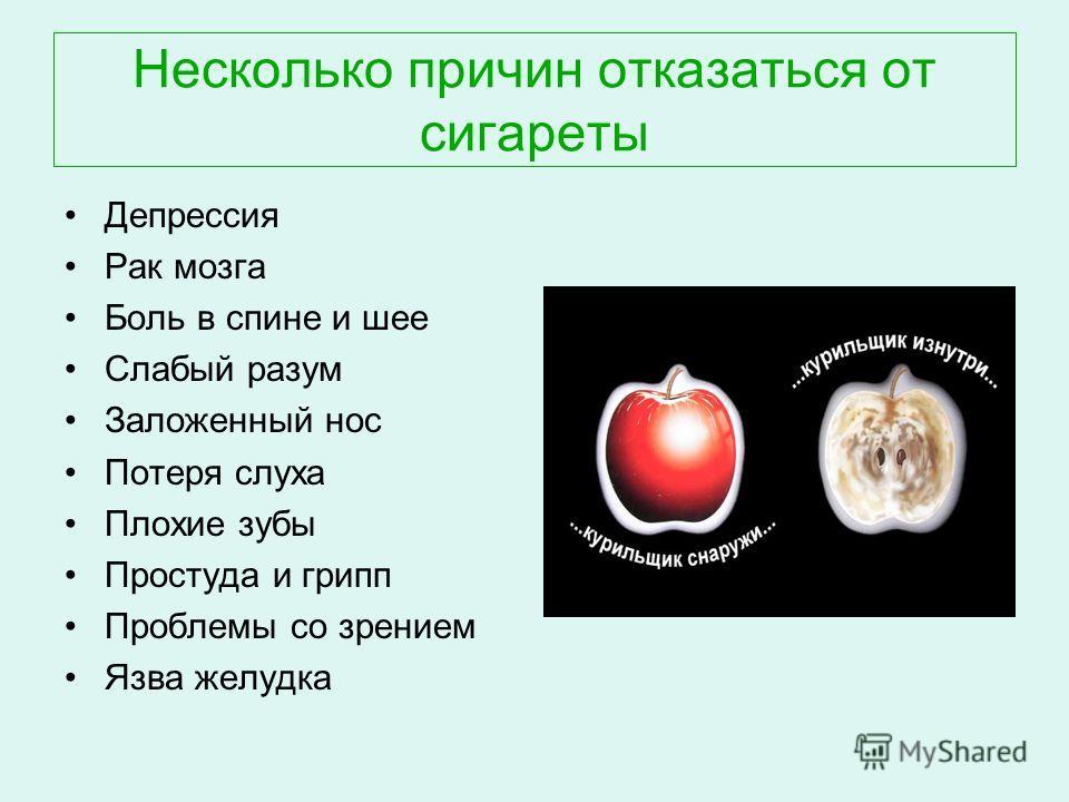 Несколько причин отказаться от сигареты Депрессия Рак мозга Боль в спине и шее Слабый разум Заложенный нос Потеря слуха Плохие зубы Простуда и грипп Проблемы со зрением Язва желудка