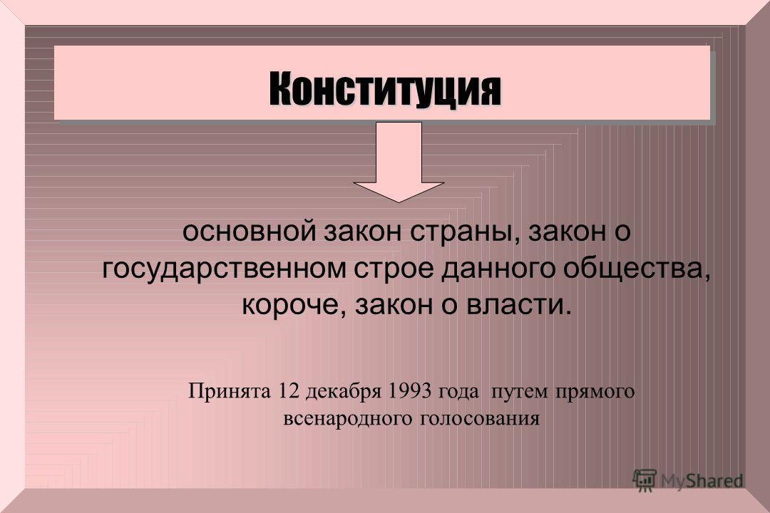 Конституция основной закон страны, закон о государственном строе данного общества, короче, закон о власти. Принята 12 декабря 1993 года путем прямого всенародного голосования