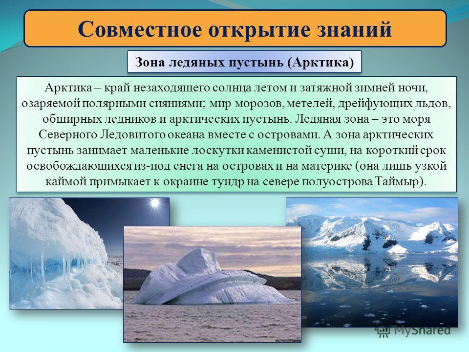Совместное открытие знаний Зона ледяных пустынь (Арктика) Арктика – край незаходящего солнца летом и затяжной зимней ночи, озаряемой полярными сияниями; мир морозов, метелей, дрейфующих льдов, обширных ледников и арктических пустынь. Ледяная зона – э